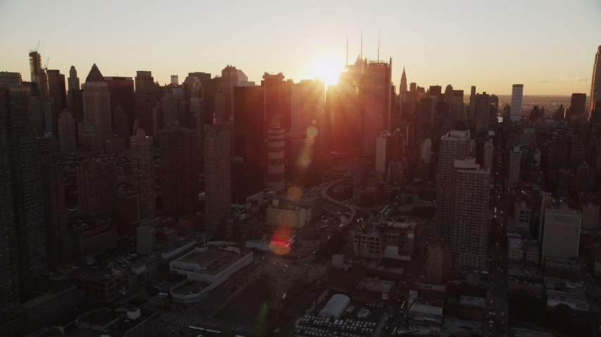 4K stock footage aerial video Flying by Midtown Manhattan, New York, New York, sunrise Aerial Stock Footage | AX90_032