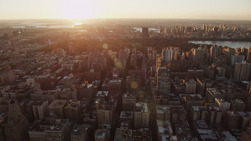 4K stock footage aerial video Flying by Upper West Side, New York, New York, sunrise Aerial Stock Footage | AX90_036