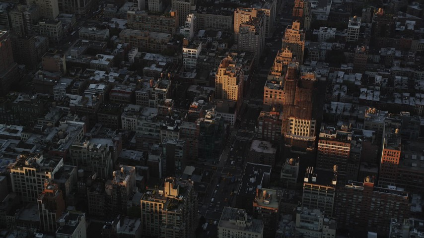 4K stock footage aerial video Flying over Greenwich Village, revealing Lower Manhattan, New York, sunrise Aerial Stock Footage | AX90_063
