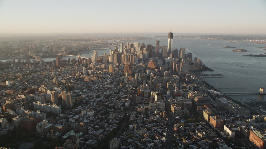 4K stock footage aerial video Approaching Lower Manhattan, New York, New York, sunrise Aerial Stock Footage | AX90_065