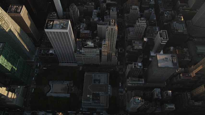 4K aerial video of New York Public Library, Rockefeller Center, Central Park, New York, sunrise Aerial Stock Footage | AX90_074