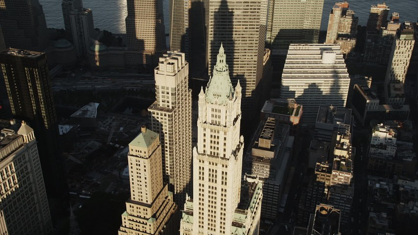 4K stock footage aerial video Orbiting Woolworth Building, Lower Manhattan, New York, New York, sunrise Aerial Stock Footage | AX90_119