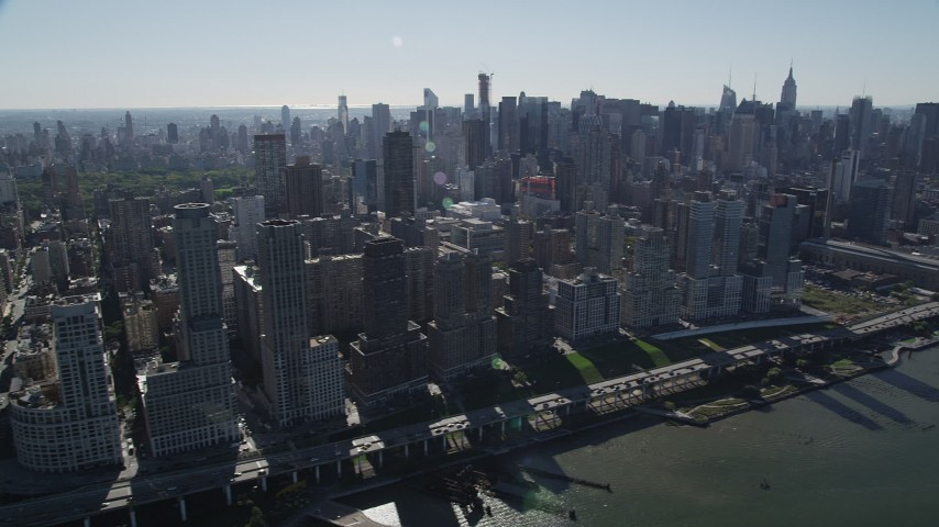 4K stock footage aerial video pan acrossMidtown Manhattan and Upper West Side skyscrapers, New York Aerial Stock Footage | AX91_007