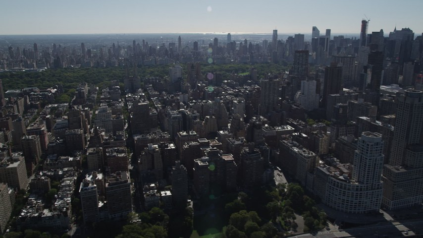 4K stock footage aerial video of flying by Upper West Side apartment buildings, New York, New York Aerial Stock Footage | AX91_008