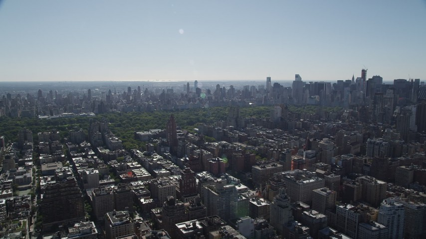4K stock footage aerial video of passing by Upper West Side apartment buildings, New York, New York Aerial Stock Footage | AX91_009