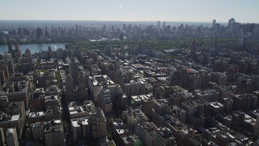 4K stock footage aerial video of passing by Upper West Side apartment buildings, New York, New York Aerial Stock Footage | AX91_010