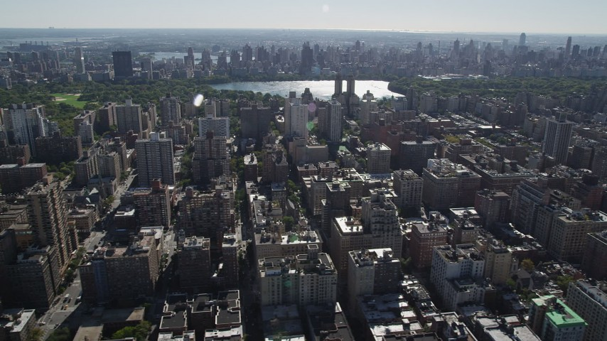 4K stock footage aerial video of passing Upper West Side apartment buildings, New York, New York Aerial Stock Footage | AX91_011