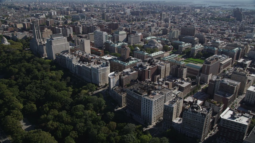 5K aerial video of flying by apartment buildings and Columbia University, Morningside Heights, New York Aerial Stock Footage | AX91_013