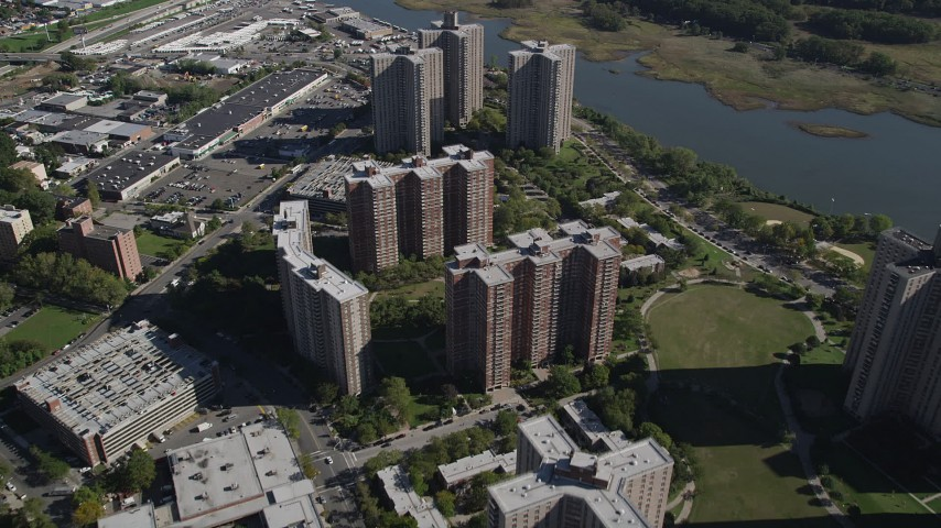 4K stock footage aerial video of flying over Co-op City apartment buildings in The Bronx, New York, New York Aerial Stock Footage | AX91_027