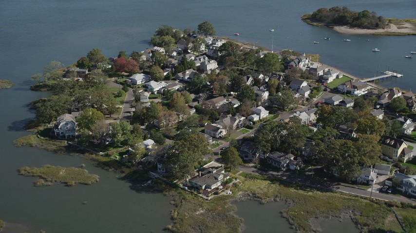 4K stock footage aerial video of approaching waterfront homes in Norwalk, Connecticut Aerial Stock Footage | AX91_096