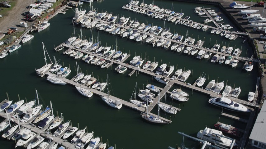 4K stock footage aerial video of flying over sailboats at Norwalk Cove Marina, Norwalk, Connecticut Aerial Stock Footage | AX91_099