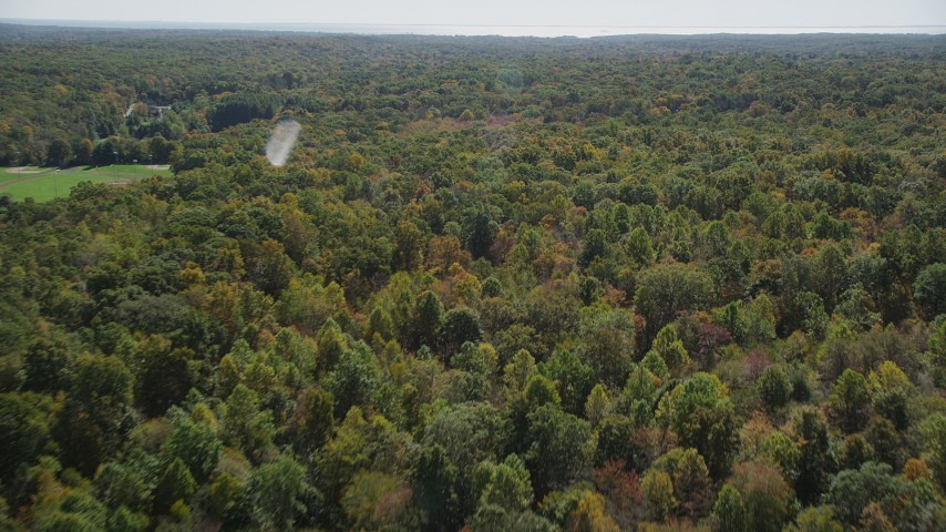 4K stock footage aerial video of panning and flying over lush forest, autumn, Guilford, Connecticut Aerial Stock Footage | AX91_175