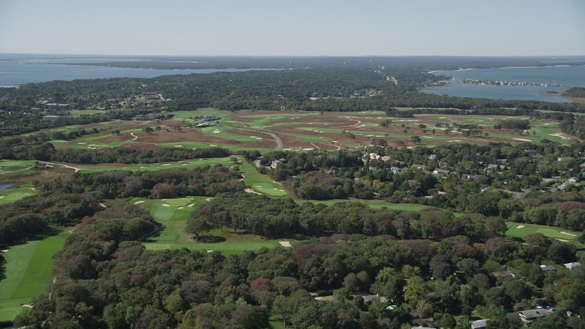 4K stock footage aerial video of flying by Shinnecock Hills Golf Course, Southampton, New York Aerial Stock Footage   AX91_207