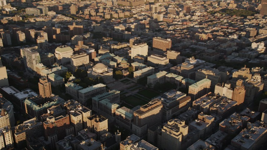 4K aerial video Approaching Columbia University, Morningside Heights, New York, sunset Aerial Stock Footage | AX93_017