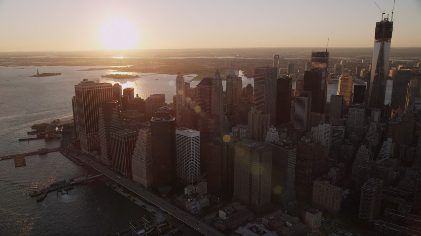 4K stock footage aerial video Approaching Lower Manhattan, tilt down, New York, New York, sunset Aerial Stock Footage | AX93_068