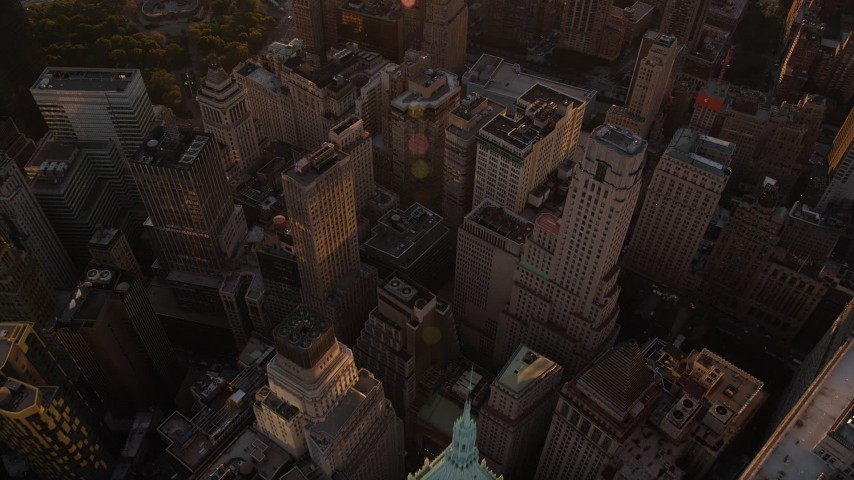 4K stock footage aerial video Approaching Lower Manhattan, New York, New York, sunset Aerial Stock Footage | AX93_071