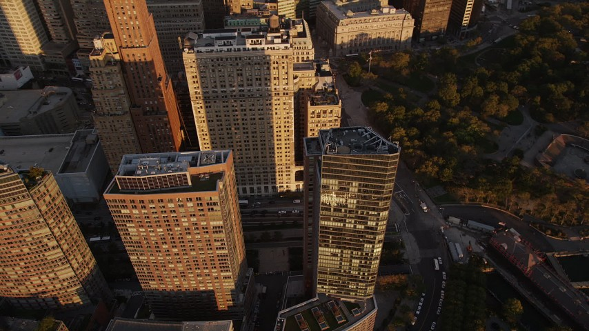 4K stock footage aerial video Flying by skyscrapers near Battery Park, Lower Manhattan, New York, sunset Aerial Stock Footage | AX93_074