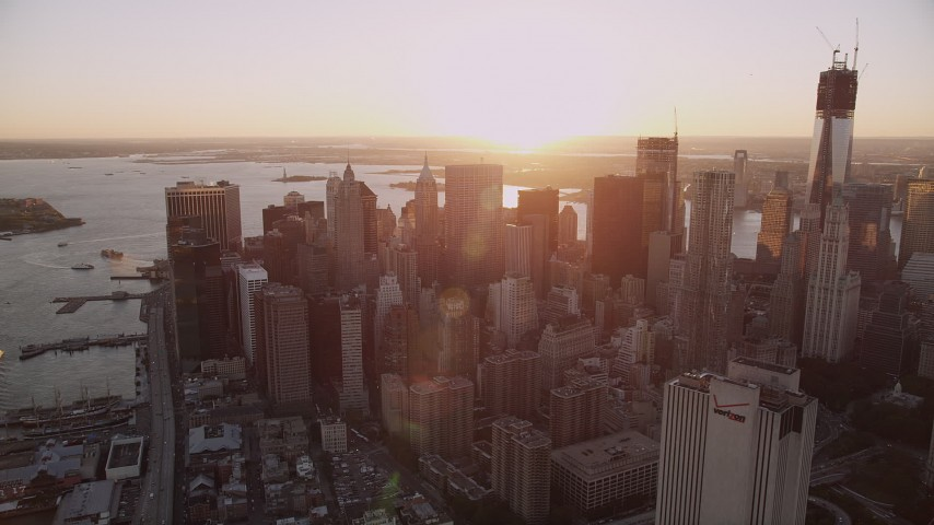 4K stock footage aerial video Flying by Lower Manhattan, New York, New York, sunset Aerial Stock Footage | AX93_083