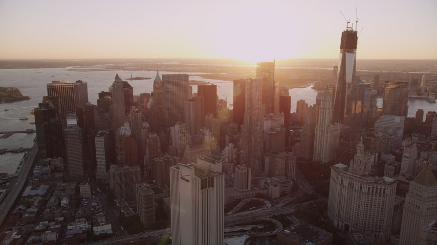 4K stock footage aerial video Flying by Lower Manhattan, New York, New York, sunset Aerial Stock Footage | AX93_084