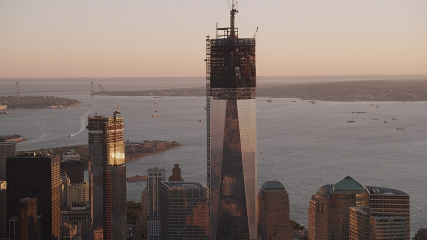 4K stock footage aerial video of Freedom Tower, One World Trade Center, Lower Manhattan, New York, sunset Aerial Stock Footage | AX93_087