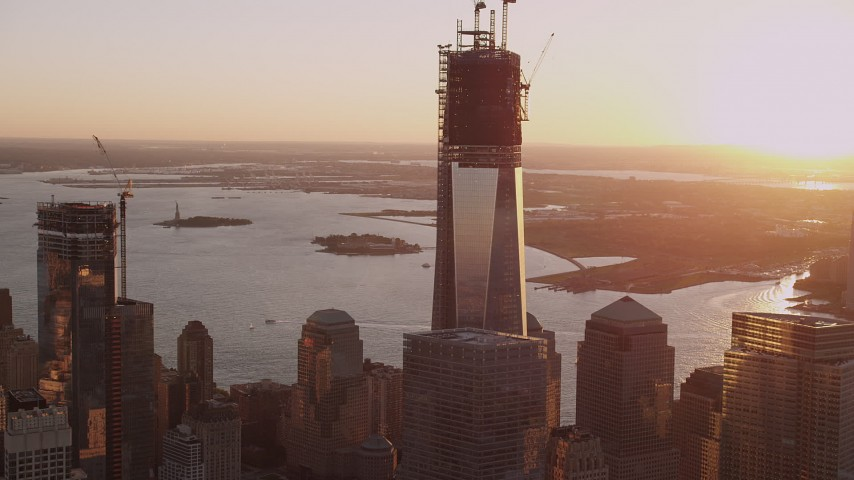 4K stock footage aerial video Flying by One World Trade Center, Lower Manhattan, New York, New York, sunset Aerial Stock Footage | AX93_091