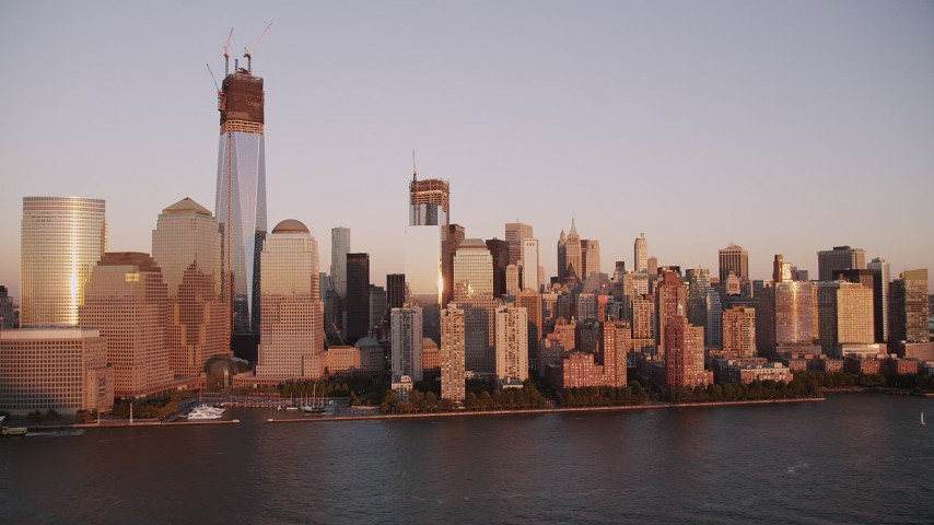 4K stock footage aerial video One World Trade Center, Lower Manhattan, Hudson River, New York, sunset Aerial Stock Footage | AX93_102