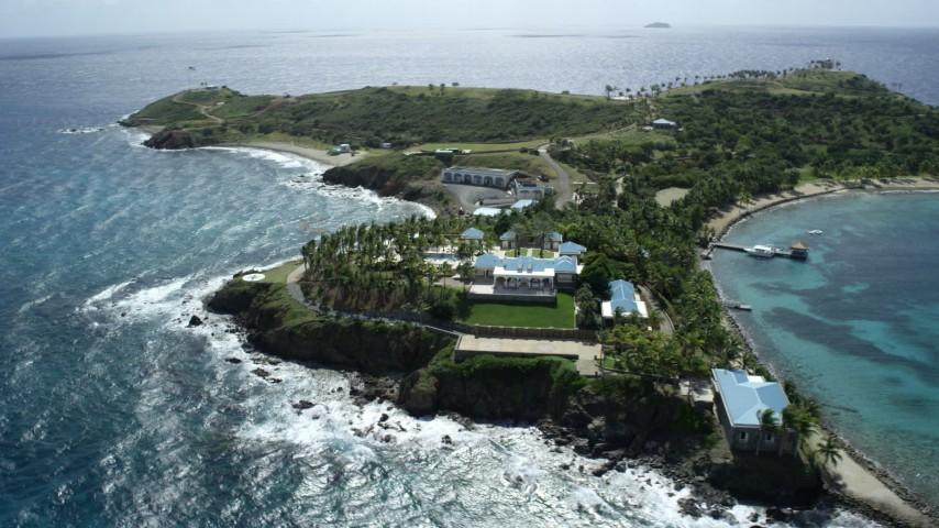 5k stock footage stock footage aerial video orbit mansion on Little St James Island, St Thomas, Virgin Islands Aerial Stock Footage | AX96_158