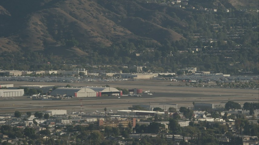 HD stock footage aerial video of Bob Hope International Airport in Burbank, California Aerial Stock Footage | CAP_004_003