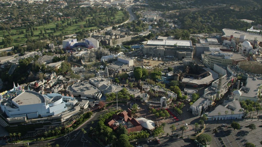 HD stock footage aerial video flyby Universal Studios Hollywood in Universal City, California Aerial Stock Footage | CAP_004_006