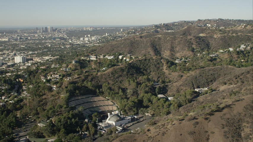 HD stock footage aerial video of flying by Hollywood Bowl in the Hollywood Hills, California Aerial Stock Footage | CAP_004_010