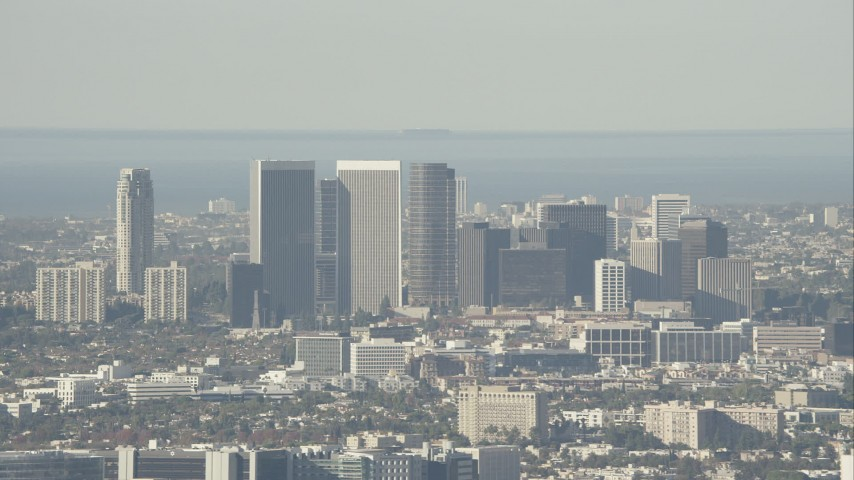 HD stock footage aerial video of zooming in on skyscrapers in Century City, California Aerial Stock Footage   CAP_004_011