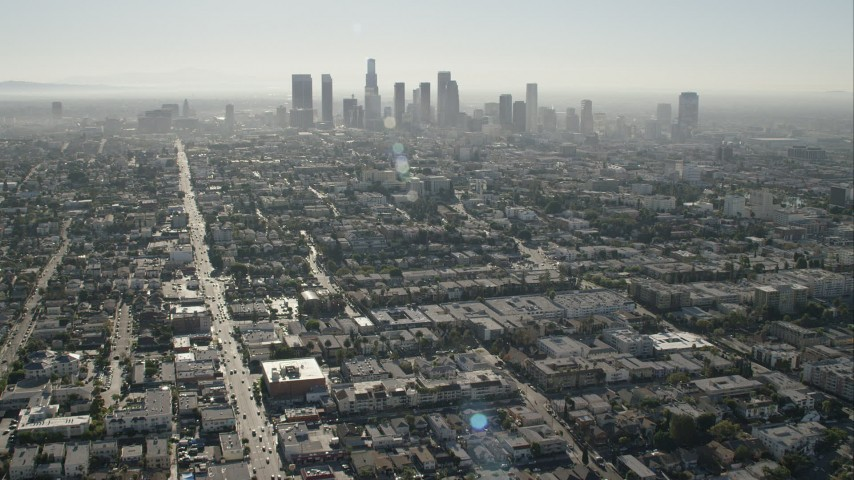 HD stock footage aerial video of approaching the skyline of Downtown Los Angeles, California Aerial Stock Footage | CAP_004_012