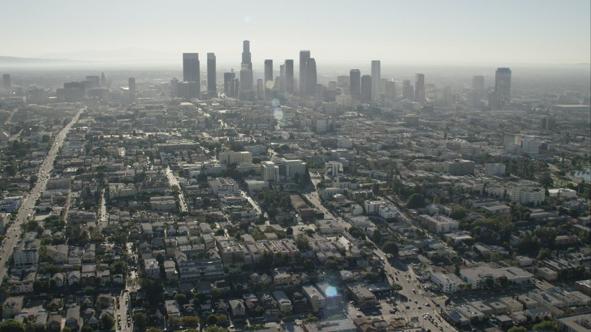 HD stock footage aerial video of flying toward the skyline of Downtown Los Angeles, California Aerial Stock Footage | CAP_004_013