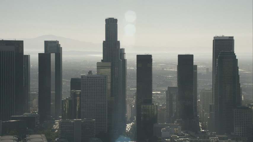 HD stock footage aerial video of towering city skyscrapers in Downtown Los Angeles, California Aerial Stock Footage | CAP_004_014
