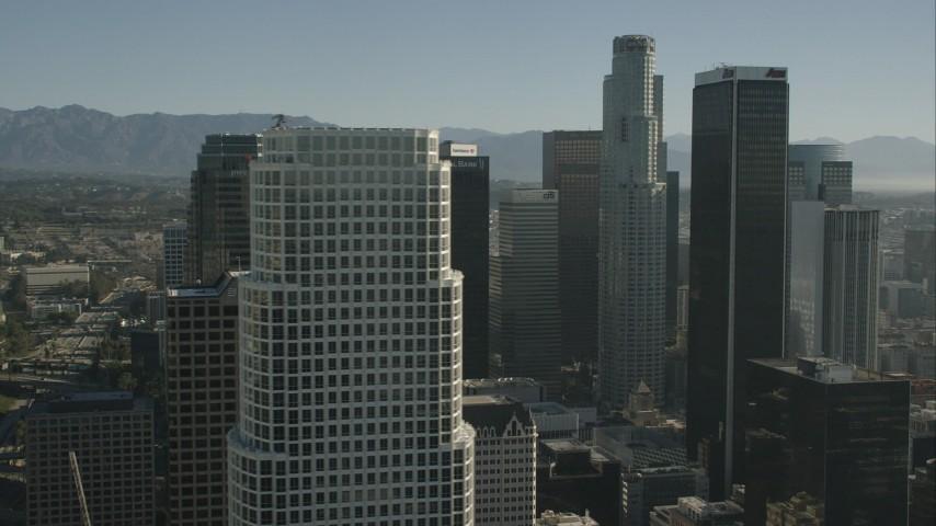 HD stock footage aerial video flyby skyscrapers in Downtown Los Angeles, California Aerial Stock Footage | CAP_004_017