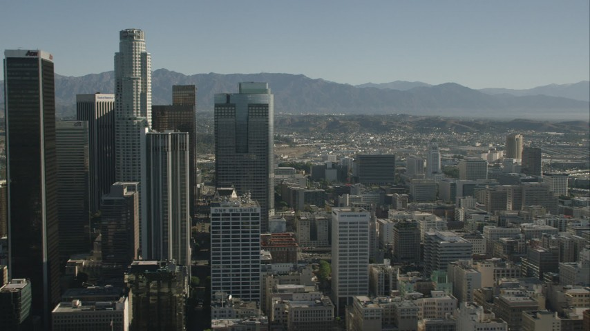 HD stock footage aerial video flyby skyscrapers and office buildings, Downtown Los Angeles, California Aerial Stock Footage | CAP_004_018