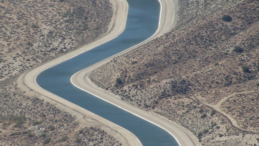 HD stock footage aerial video of tilting to a small section of the California Aqueduct in Palmdale, California Aerial Stock Footage | CAP_006_009