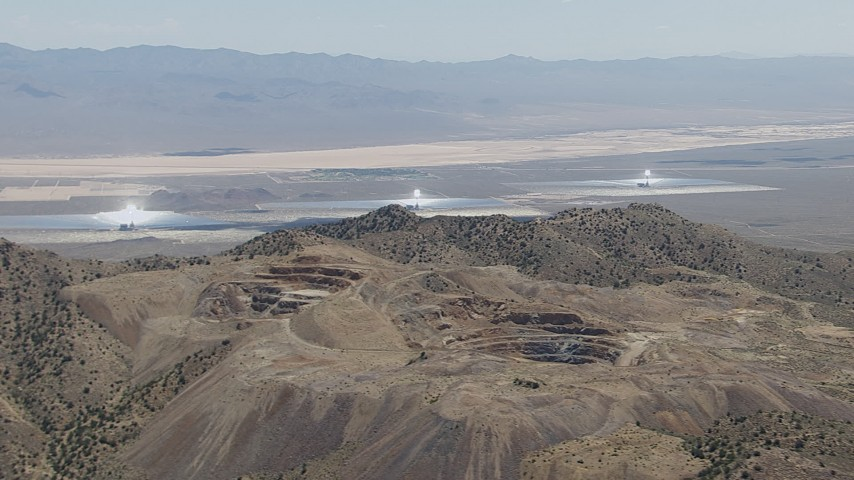 HD stock footage aerial video of the three solar arrays at the Ivanpah Solar Electric Generating System in California Aerial Stock Footage | CAP_006_030