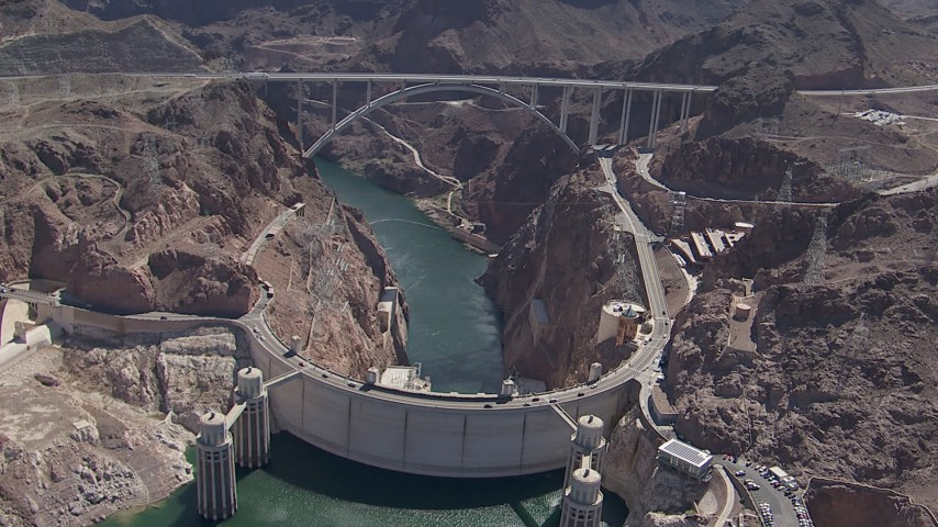 HD stock footage aerial video orbit Hoover Dam and the bypass bridge, Nevada Aerial Stock Footage | CAP_008_002
