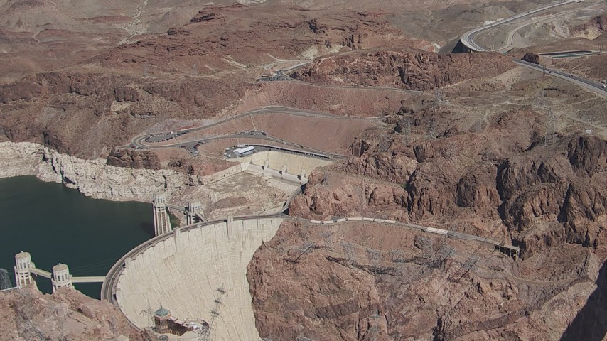 HD stock footage aerial video of Kingman Wash Access Road and Hoover Dam, Nevada Aerial Stock Footage | CAP_008_006