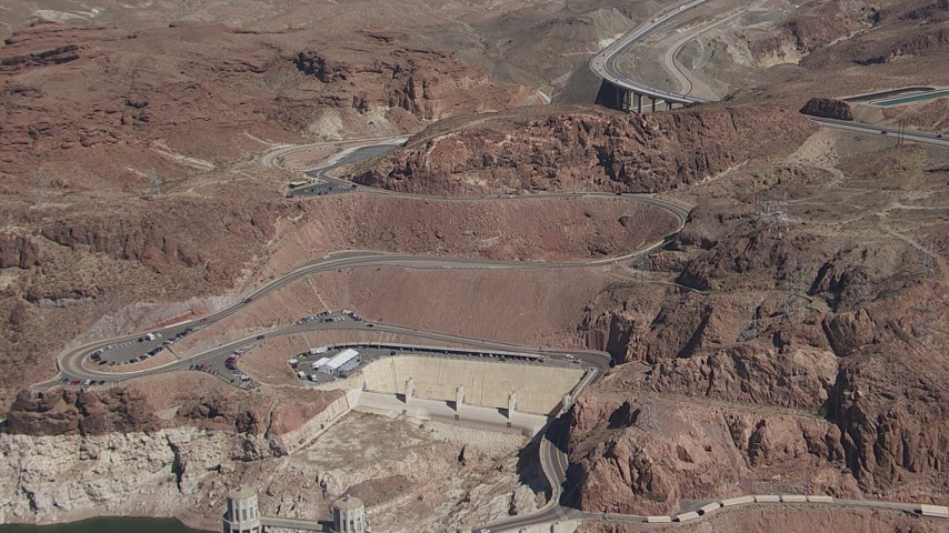 HD stock footage aerial video of light traffic on the Kingman Wash Access Road by Hoover Dam, Nevada Aerial Stock Footage | CAP_008_007