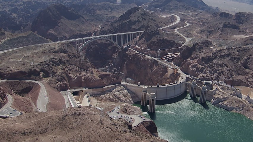 HD stock footage aerial video of Kingman Wash Access Road, Hoover Dam, and the bypass bridge, Nevada Aerial Stock Footage | CAP_008_008