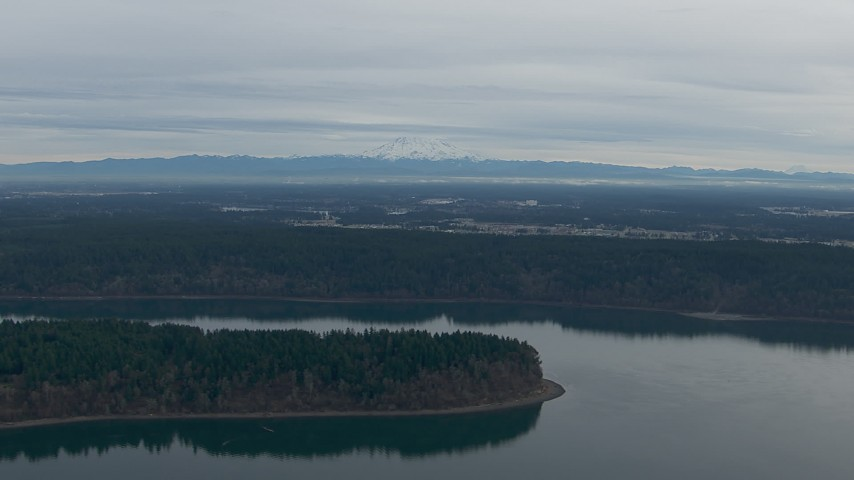 HD stock footage aerial video of Mount Rainier seen from Puget Sound, Pierce County, Washington Aerial Stock Footage | CAP_009_005
