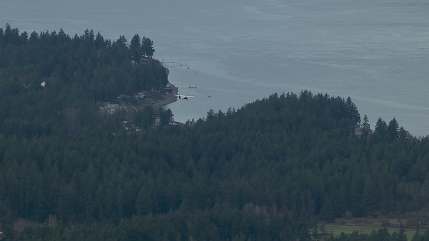 HD stock footage aerial video track an airplane flying over evergreen trees on the shore of Puget Sound, Washington Aerial Stock Footage | CAP_009_010