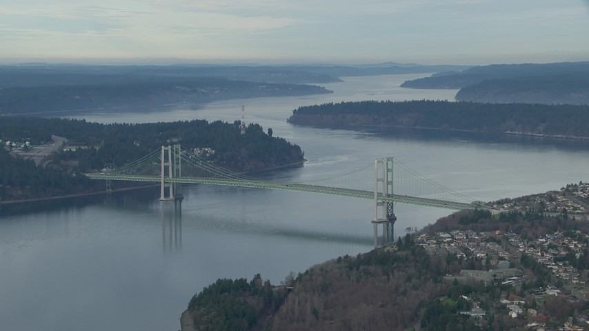 HD stock footage aerial video of the Tacoma Narrows Bridge spanning Puget Sound, Washington Aerial Stock Footage | CAP_009_012