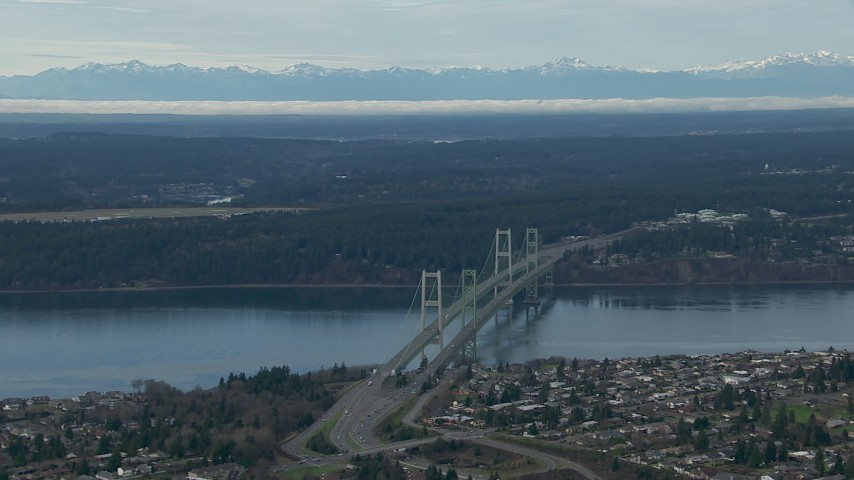 HD stock footage aerial video of the Olympic Mountains and the Tacoma Narrows Bridge, Washington Aerial Stock Footage | CAP_009_015