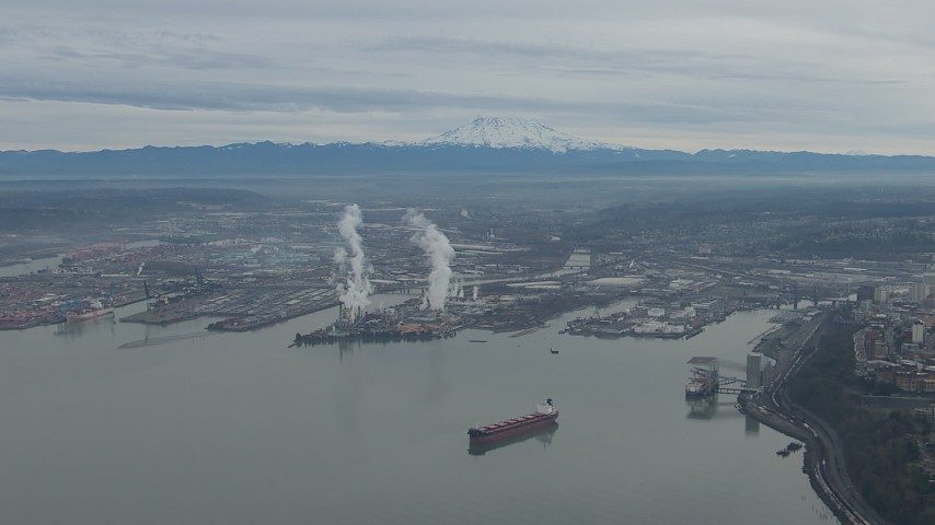 HD stock footage aerial video of Mount Rainier and the Port of Tacoma seen from Commencement Bay, Washington Aerial Stock Footage | CAP_009_018