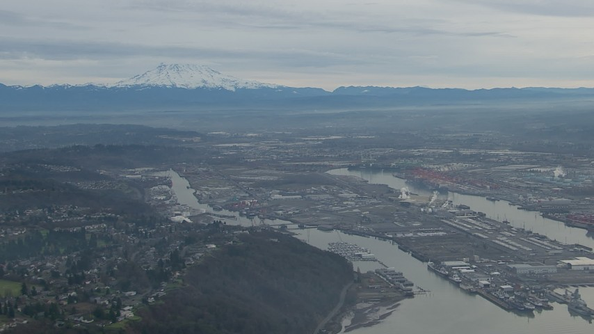 HD stock footage aerial video of the Port of Tacoma and Mount Rainier in Tacoma, Washington Aerial Stock Footage | CAP_009_022