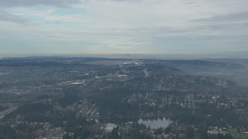 HD stock footage aerial video of Seattle Tacoma Airport and the Downtown Seattle skyline seen from I-5 and suburban neighborhoods, Washington Aerial Stock Footage | CAP_009_029