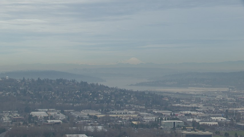 HD stock footage aerial video of Three Fingers South peak seen from Renton Airport, Washington Aerial Stock Footage | CAP_009_036